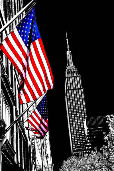 Empire State Building Photograph - The Flag That Built An Empire by Az Jackson