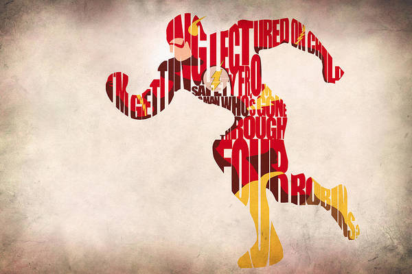 Typographic Wall Art - Digital Art - The Flash by Inspirowl Design