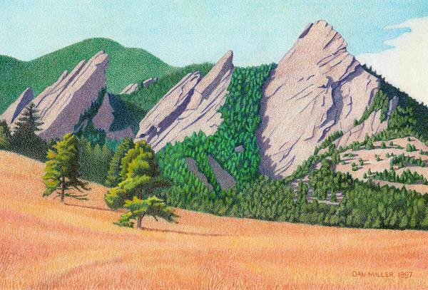 Drawing - The Flatirons Colorado by Dan Miller