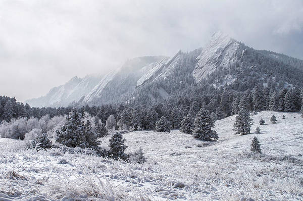 Foothills Wall Art - Photograph - The Flatirons - Winter by Aaron Spong