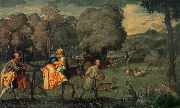 Wall Art - Photograph - The Flight Into Egypt, 1500s Oil On Canvas by Titian
