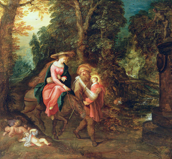 Putto Photograph - The Flight Into Egypt Panel by Frans Francken
