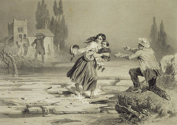 Ohio River Drawing - The Flight Of Eliza, Plate 3 From Uncle by Adolphe Jean-Baptiste Bayot
