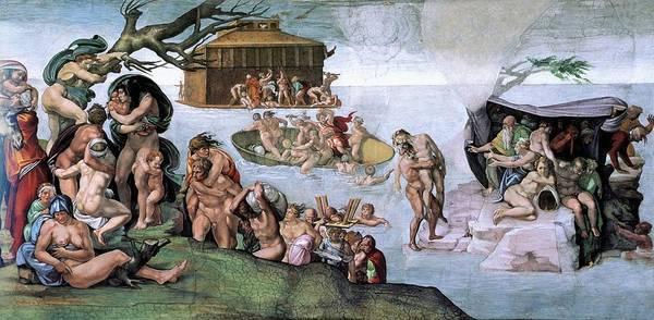 Apostolic Palace Wall Art - Painting - The Flood by Michelangelo Buonarroti
