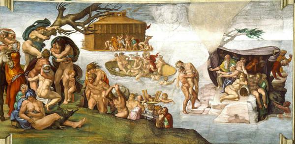 Buonarroti Wall Art - Painting - The Flood by Michelangelo di Lodovico Buonarroti Simoni