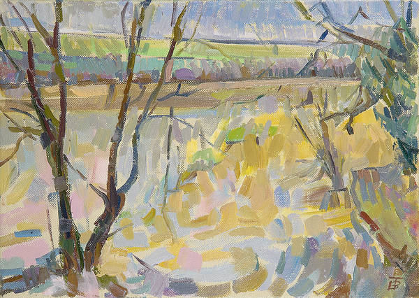 English Countryside Photograph - The Flooded Cherwell From Rousham II Oil On Canvas by Erin Townsend