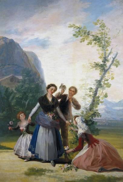 Primavera Painting - The Flower Girls - Spring by Francisco Goya