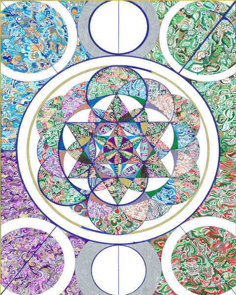 Wall Art - Drawing - The Flower Of Life And The 4 Elements by Phable Omsri