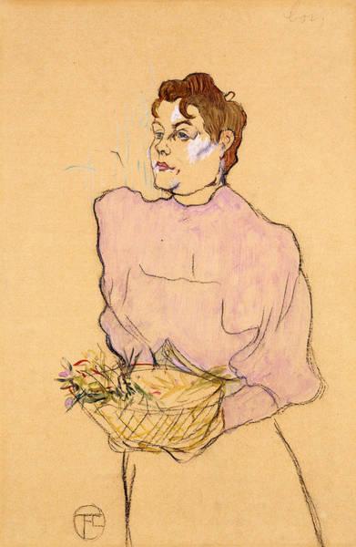 Wall Art - Drawing - The Flower Seller by Henri de Toulouse-Lautrec