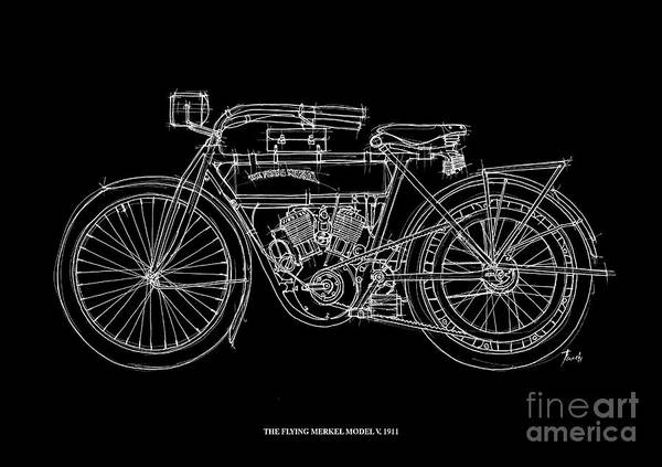 Line Drawing Painting - The Flying Merkel Model V 1911 by Drawspots Illustrations