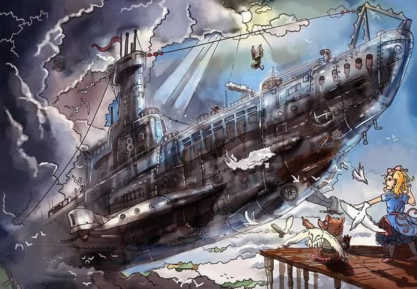 The Flying Submarine Art Print