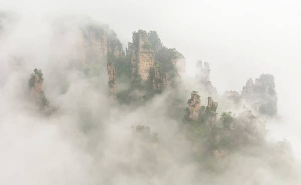 Foggy Wall Art - Photograph - The Foggy Peaks by David Hua
