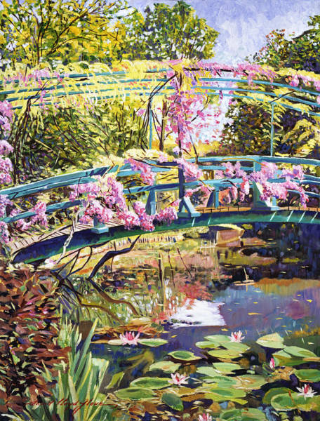 Arbor Painting - The Footbridge At Giverny by David Lloyd Glover