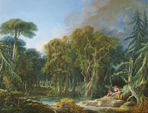 Wall Art - Photograph - The Forest, 1740 Oil On Canvas by Francois Boucher