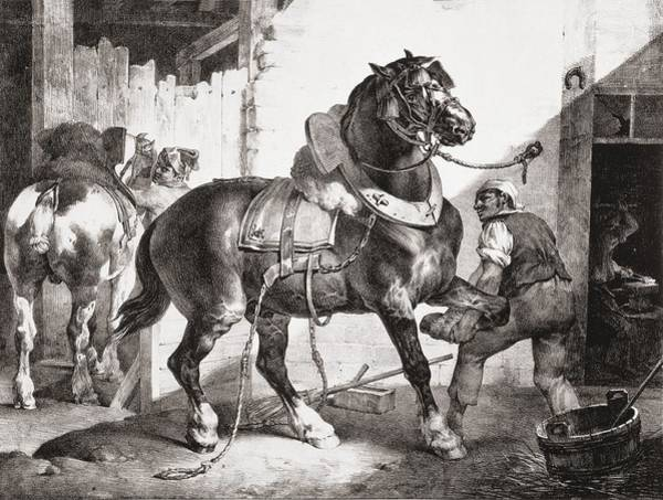 Equestrian Drawing - The Forge, From Etudes De Cheveaux, 1822 by Theodore Gericault