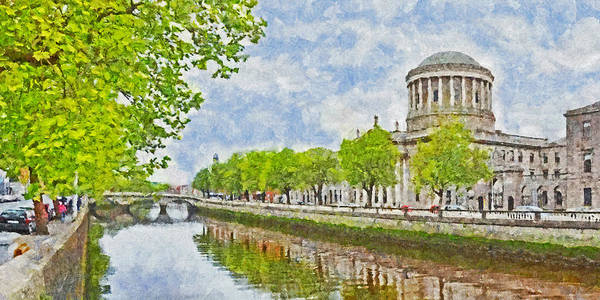 Digital Art - The Four Courts Along The River Liffey In Dublin by Digital Photographic Arts