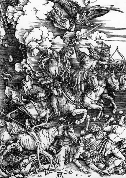 Hells Angels Wall Art - Painting - The Four Horsemen Of The Apocalypse by Albrecht Durer