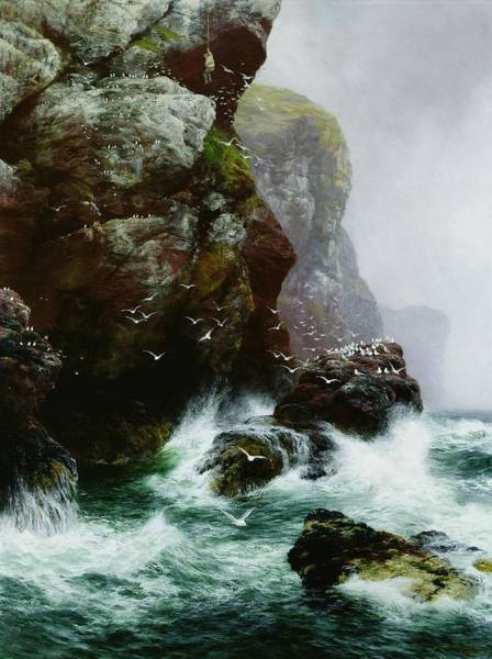 Rocky Coast Painting - The Fowlers Crag by Peter Graham
