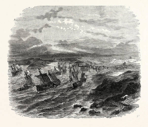 Wall Art - Drawing - The French Fleet Arriving At Milford Haven by English School