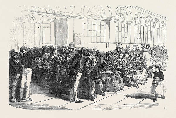 Wall Art - Drawing - The French Loan Scene At The Hotel Of The Minister by English School