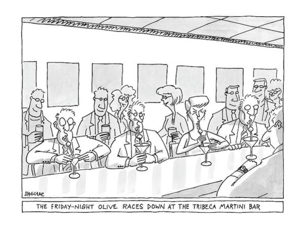 Racing Drawing - The Friday Night Olive Races Down At The Tribeca by Jack Ziegler