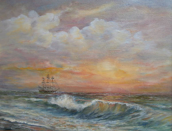 Painting - Sunlit  Frigate by Katalin Luczay
