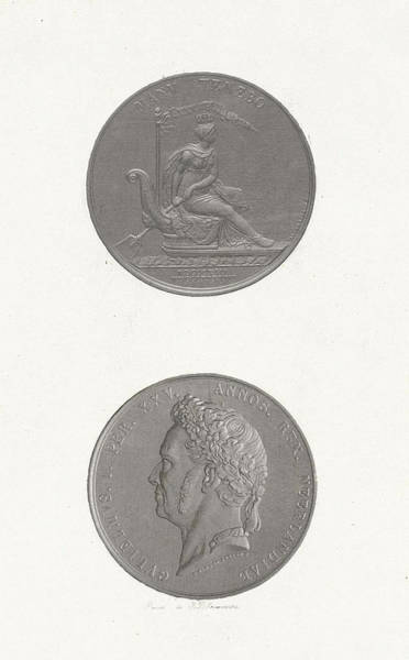 Kingship Wall Art - Drawing - The Front And Back Of A Coin To Commemorate The 25th by Jan Dam Steuerwald