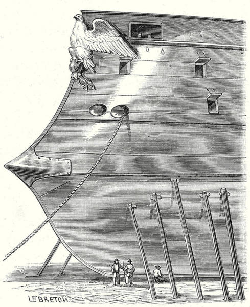 Wall Art - Drawing - The Front Of A Steam-propelled Ironclad Warship by English School