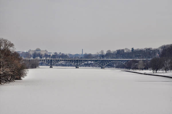 Photograph - The Frozen Schuylkill And Strawberry Mansion Bridge by Bill Cannon