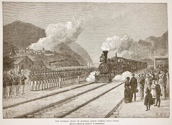 Soldier Drawing - The Funeral Train Of General Grant by Alfred R. Waud