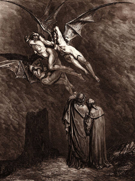 Wall Art - Drawing - The Furies Before The Gates Of Dis by Litz Collection