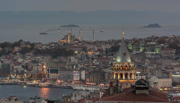Galata Photograph - The Galata Tower And The Blue Mosque In by Ayhan Altun