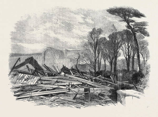 Stormy Drawing - The Gale Of Last Week Ruins Of The North Wing Of Sydenham by English School