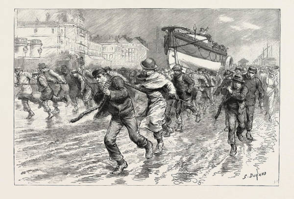 Wall Art - Drawing - The Gales On The South Coast, Dragging The Lifeboat by English School