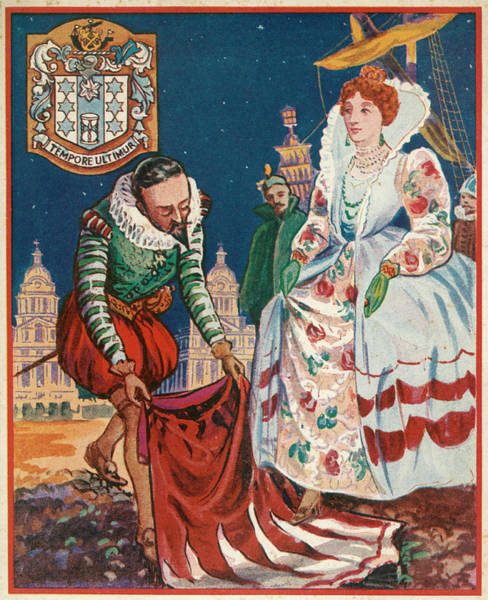 Wall Art - Drawing - The Gallant Sir Walter Raleigh  Lays by Mary Evans Picture Library