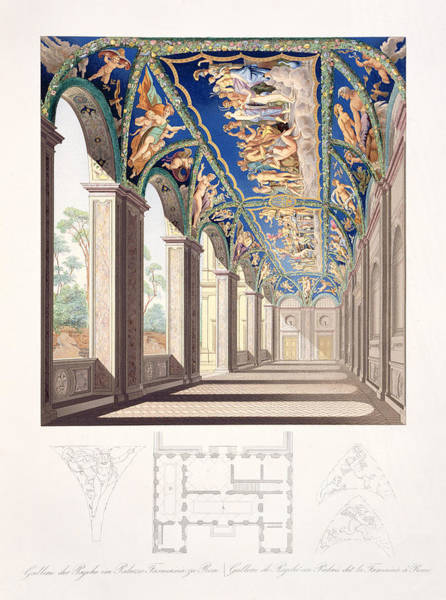 Palace Drawing - The Gallery Of Psyche At The Villa by Jacques Belly