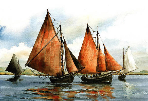 Painting - The Galway Hookers by Val Byrne