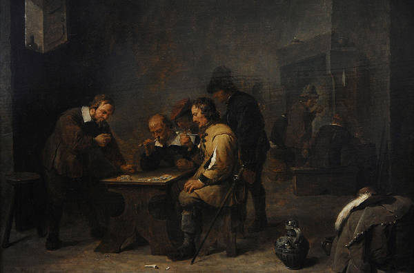 Wall Art - Photograph - The Gamblers, C. 1640, By David Teniers The Younger 1610-1690 by Bridgeman Images