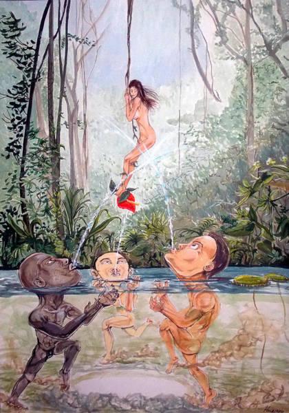Wall Art - Painting - The Game Of The River by Lazaro Hurtado