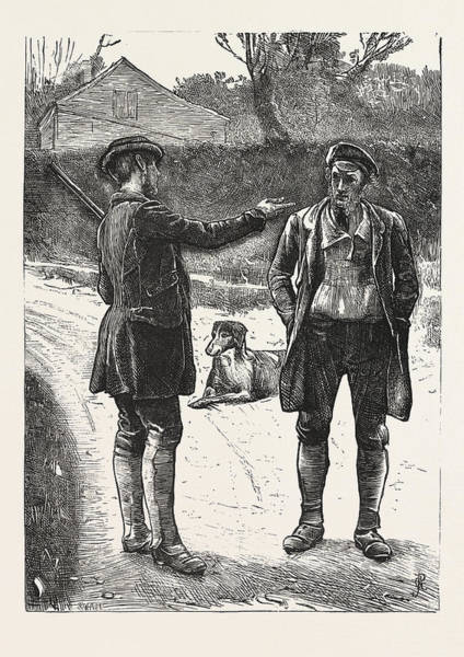 Wall Art - Drawing - The Gamekeeper. Hunt, Hunting, Engraving 1876, Uk, Britain by Pinwell, George John Rws (1842-1875), English