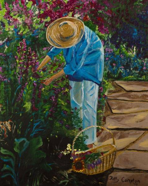 Snapdragons Painting - The Garden by Betty Compton