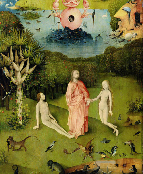 The Creation Of Adam Wall Art - Photograph - The Garden Of Earthly Delights The Garden Of Eden, Left Wing Of Triptych, C.1500 Oil On Panel by Hieronymus Bosch