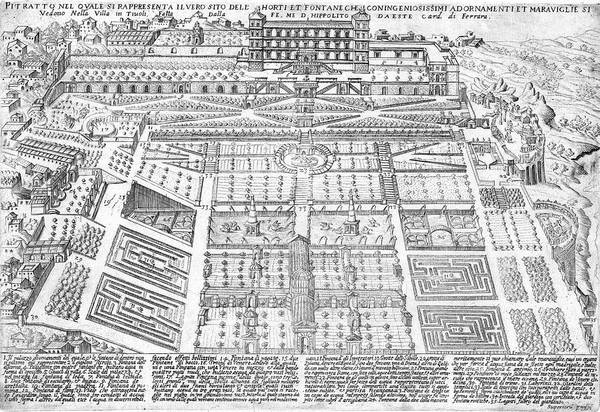 Villa Drawing - The Gardens Of The Villa Of  The Este by Mary Evans Picture Library
