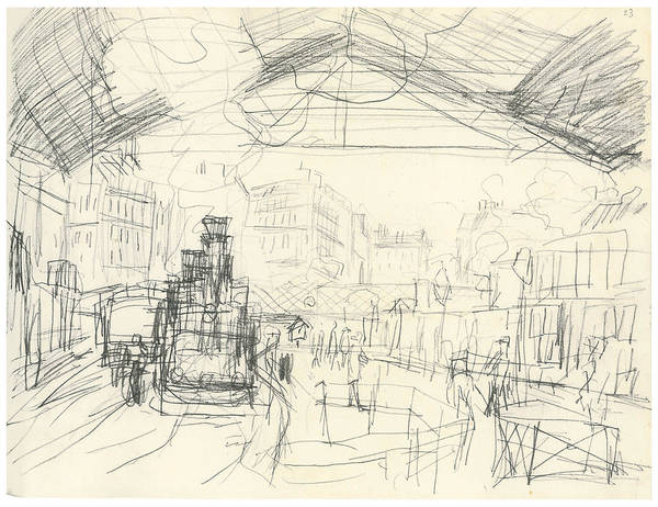 Railroad Station Drawing - The Gare Saint-lazare Suburban Lines by Claude Monet