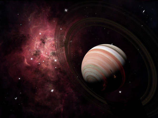 Outdoors Digital Art - The Gas Giant Carter Orbited By Its Two by Brian Christensen/stocktrek Images
