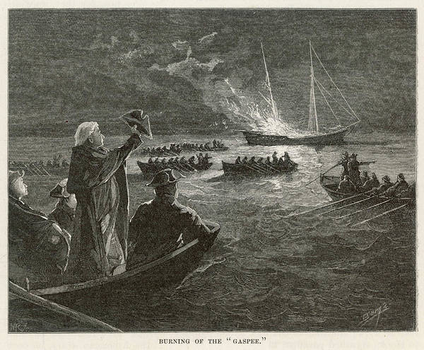 Wall Art - Drawing - The 'gaspee' Is Burned By  Rebels by Mary Evans Picture Library