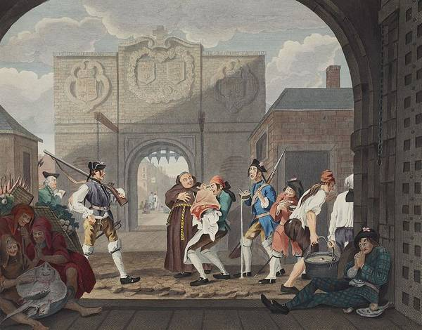 Soldier Drawing - The Gate Of Calais, Or O The Roast Beef by William Hogarth