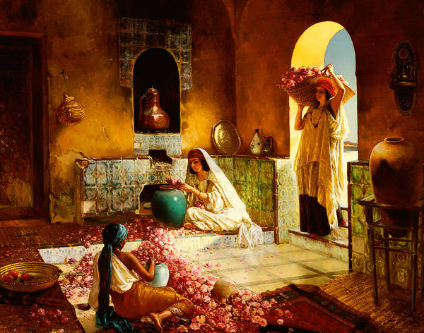 Inside Painting - The Gathering Of The Roses by Rudolphe Ernst