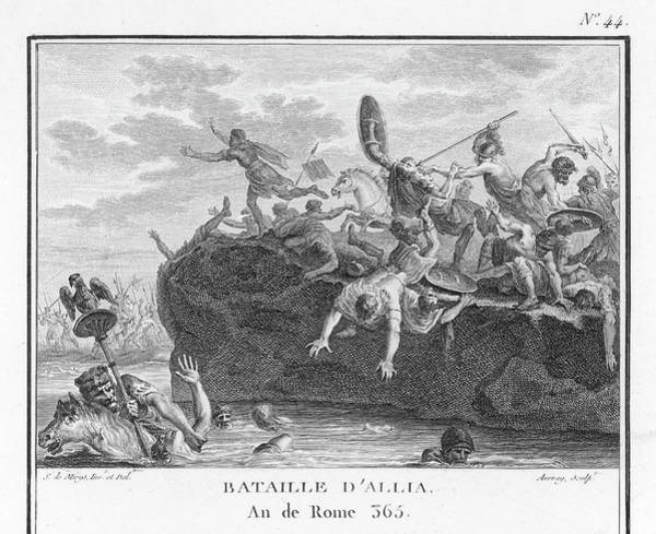 Roman Soldier Drawing - The Gauls Defeat The Romans In Battle by Mary Evans Picture Library