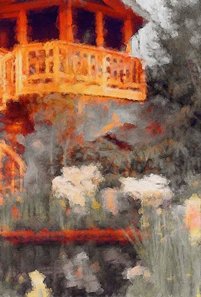 Mixed Media - The Gazebo And The Pond by Susan Maxwell Schmidt
